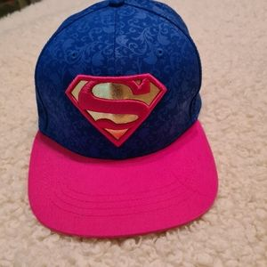 Unisex Blue Pink Hiphop Cap with Embroidered Superman | Basketball Cap Snapback